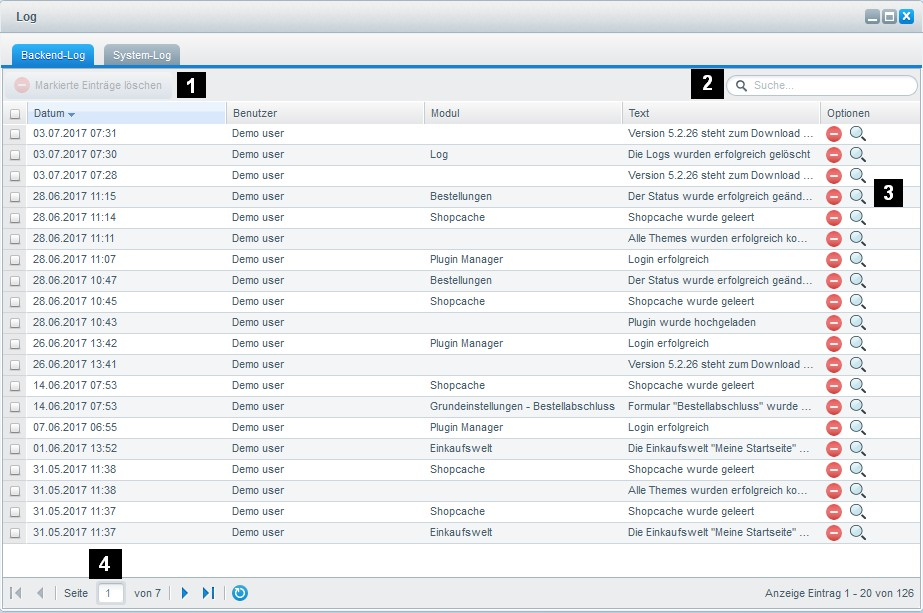Shopware 5 - Settings - Logs & Error Messages