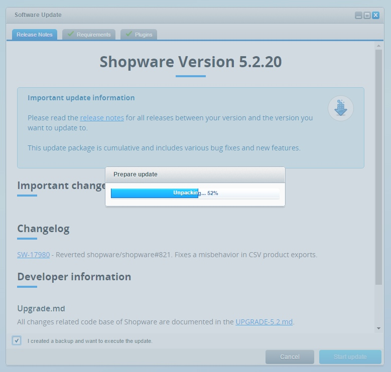 Updating Shopware