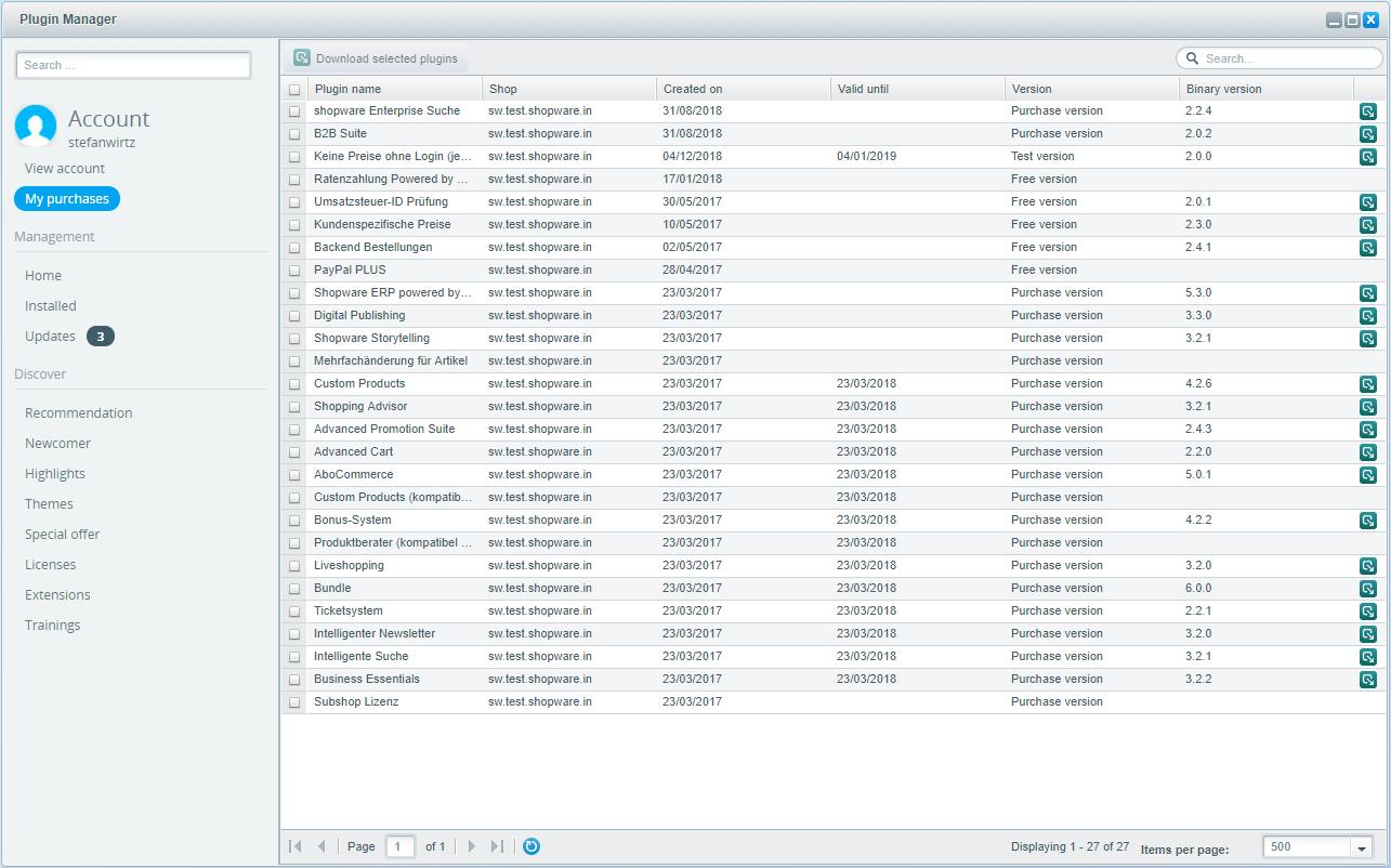 Shopware 5 - Settings - Plugin Manager